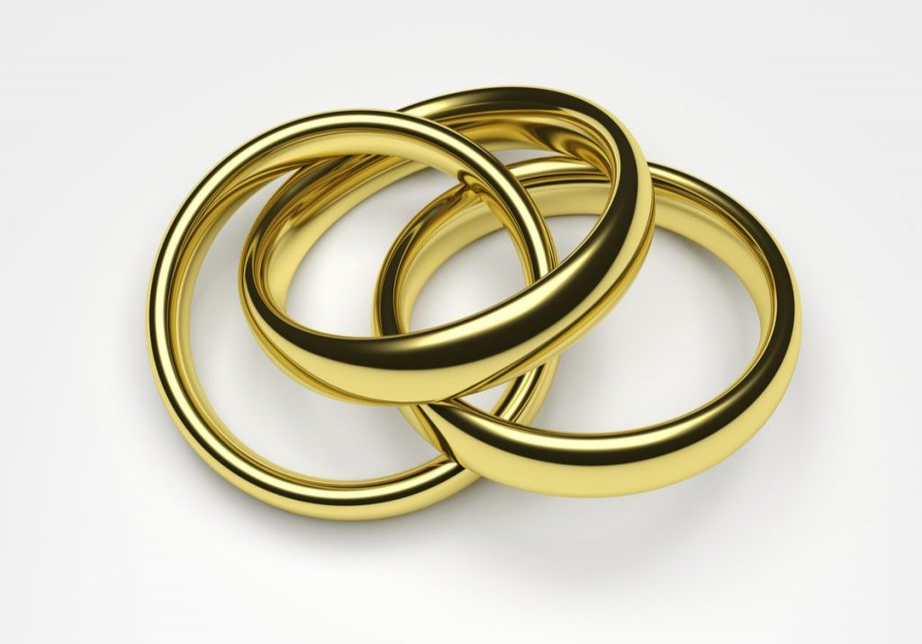 3d render illustration of a gold ring attached to two rings.